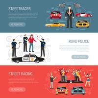 Street Racing platte horizontale banners instellen