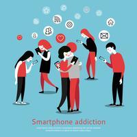 Smartphone internet verslaving bewustzijn vlakke poster vector