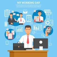 Man dagelijkse routine poster vector