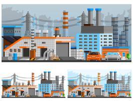 Industriële gebouwen composities instellen vector