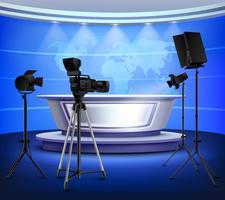 Realistisch Blue News Studio-interieur