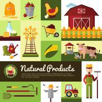 Biologische boerderijproducten plat ontwerp vector