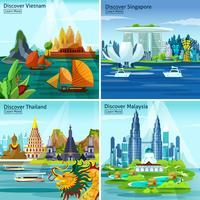 Aziatische reis 2x2 ontwerpconcept vector
