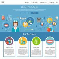 Paginaontwerp tandheelkundige zorg vector