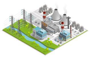 Vector Illustratie Van Thermische Krachtcentrale