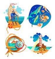 zee oceaan nautische symbolen ingesteld vector