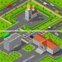 Gebouwen van de staat van de staat Isometrisch 2 spandoeken