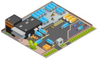 Road Cargo Transport isometrische ontwerpconcept vector