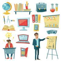 Schoolonderwijs decoratieve Icons Set