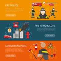 Brandweerlieden brigade platte banners webpagina ontwerp