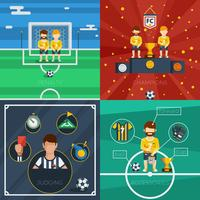Voetbal plat pictogrammen samenstelling vector