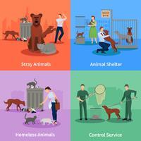 Verdwaalde dieren Icons Set