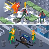 Superhero isometrische banners instellen