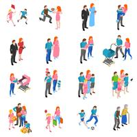 Familie mensen isometrische Icons Set vector