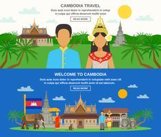 Cambodjaanse cultuur 2 horizontale banners instellen
