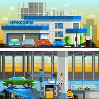 Auto service vlakke horizontale banners