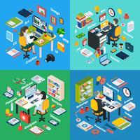 Professionele werkplek Isometrische 4 pictogrammen Square