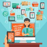 E-commerce en winkelen illustratie