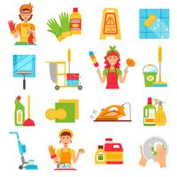 Schoonmaak Service Icon Set vector