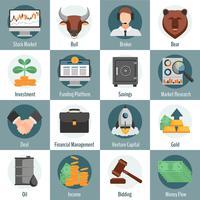 Investeringen en handel pictogrammen