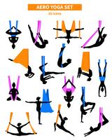Aero Yoga Zwart Wit Icon Set