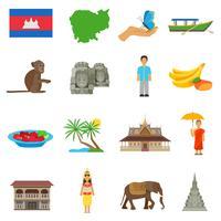 Cambodja cultuur plat pictogrammen instellen vector
