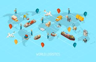 Logistieke operaties Wereldwijde isometrische poster vector