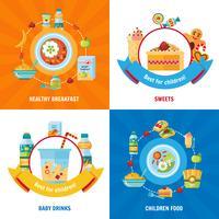 Babyvoedsel 4 plat pictogrammenvierkant vector