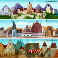 Europese stadsgezichten banners set vector