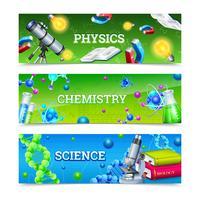Wetenschap laboratoriumapparatuur horizontale banners vector