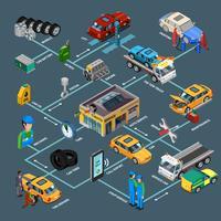 Auto Reparatie Infographics isometrische sjabloon vector