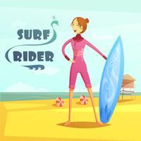 Surfen en surfen Rider Retro Cartoon afbeelding vector