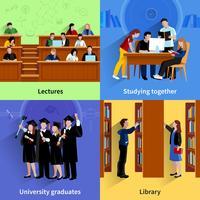 Studie studenten 2x2 ontwerpconcept vector