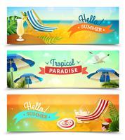 Tropische strand banners instellen