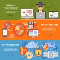 Netwerkbeveiligingsbanners vector