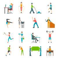 Fysieke activiteit vlakke pictogrammen