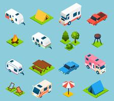 Camping en reizen isometrisch Icons Set vector