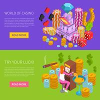 Casino horizontale isometrische banner vector