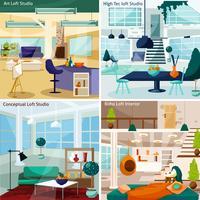 Loft Studio Concept Icons Set vector