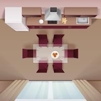Moderne keuken bovenaanzicht realistisch beeld vector