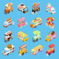 Street Food karren isometrische pictogrammen instellen vector