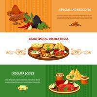 Indiase keuken 3 platte banners instellen vector