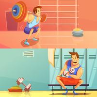 gym banners set vector