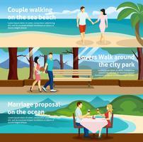 Mensen vallen in liefde Banner Set vector