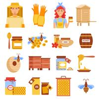 Honey Bijenteelt Icon Set vector