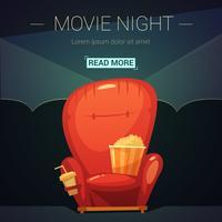 Movie Night Cartoon Illustratie vector