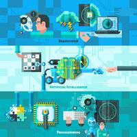 Kunstmatige intelligentie Banners Set vector