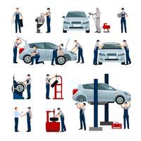 Auto Service mensen pictogrammen instellen vector
