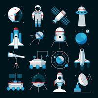 Ruimtevaartuigen instrumenten apparatuur plat pictogrammen instellen vector