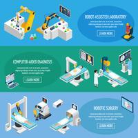 robotachtige chirurgie isometrische banners vector